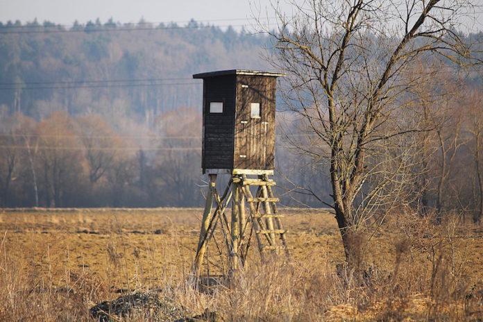 Hochsitz auf einem Feld im Winter