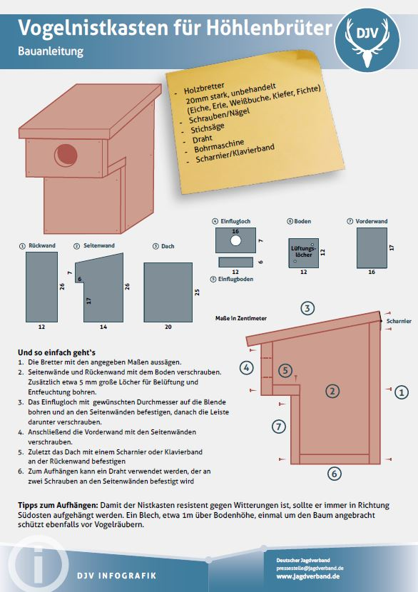 nistkasten bauanleitung f r h hlenbr ter deutsche jagdzeitung. Black Bedroom Furniture Sets. Home Design Ideas